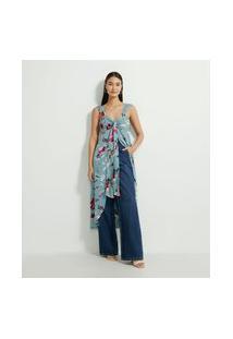Blusa Túnica Em Crepe Com Estampa Floral E Amarração Frontal