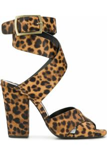 Saint Laurent Sandália Animal Print - Marrom