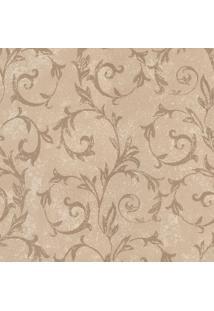 Papel De Parede Floral- Bege Claro & Dourado- 100X52Shark Metais