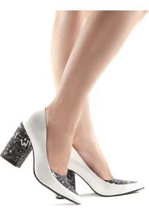 Scarpin Camminare Fabi Verniz Salto Grosso - Feminino-Branco+Preto