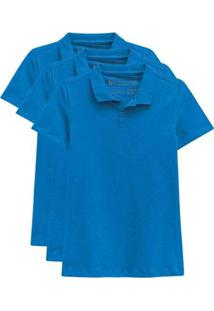 Kit De 3 Camisas Polo Femininas Azul