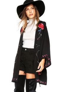 Kimono Colcci Loose Preto/Vermelho/Rosa