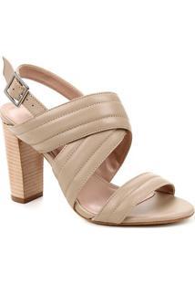Sandália Couro Shoestock Salto Bloco Alto Soft Feminina - Feminino-Cáqui