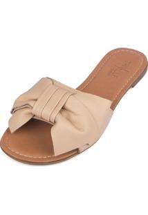 Rasteira Trivalle Shoes Nude Com Laço