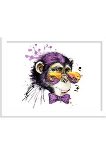 Quadro Decorativo Tropical Monkey Branco - Médio