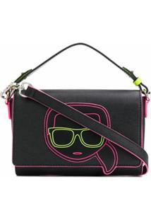 Karl Lagerfeld Bolsa Transversal K/Ikonik Neon - Preto