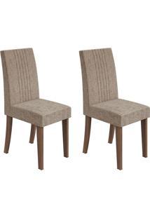 Conjunto De Cadeiras De Jantar 2 Rock Suede Rovere E Avelã