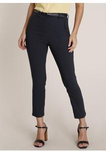 Calça Feminina Skinny Estampada Cintura Alta Com Cinto Azul Escuro