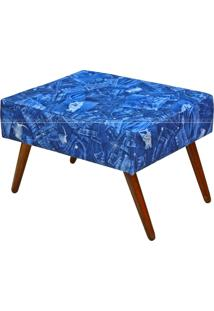 Puff Charme Retangular Pés Palito 568 Lyam Decor Azul Jeans