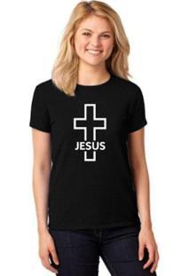 Camiseta Crucifixo Cruz Gospel Feminina - Feminino-Preto