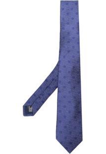 Saint Laurent Gravata De Seda Com Poás - Azul