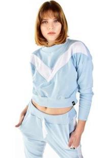 Blusa Cropped Moletom Manga Longa Brohood Listra Feminina - Feminino-Azul