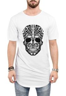 Camiseta Criativa Urbana Long Line Oversized Caveira Mexicana Tribal - Masculino
