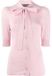 Dolce & Gabbana Pussy Bow Detail Cardigan - Rosa