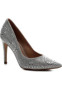 Scarpin Shoestock Bride Salto Alto Cristais Noiva - Feminino-Prata