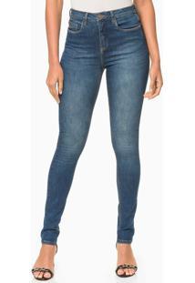 Calça Jeans Five Pockets Jegging High - Azul Médio - 42