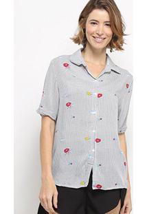 Camisa Manga Curta C & V Collection Xadrez Floral Feminina - Feminino