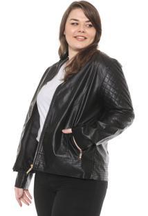 Jaqueta Secret Glam Plus Size Resinada Preta