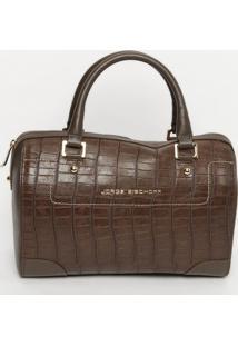 Bolsa Em Couro Com Recorte - Marrom Escuro- 24X33X10Jorge Bischoff