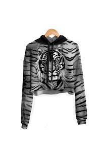 Blusa Cropped Moletom Feminina Over Fame Tigre Md03