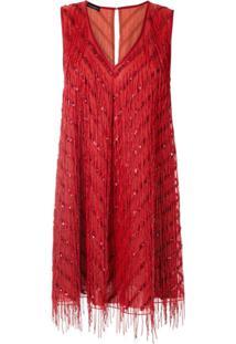 Emporio Armani Vestido De Seda Com Franjas - Vermelho