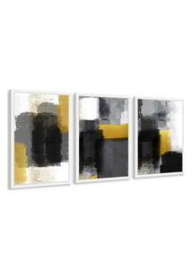 Quadro 60X120Cm Abstrato Dourado Griza Moldura Branca Com Vidro Decorativo Interiores