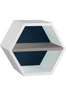 Nicho Hexagonal Favo Ii Com Prateleira Branco Com Azul Noite E Cinza