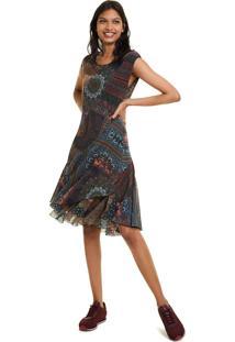 Vestido Desigual Curto Estampado Azul-Marinho - Azul Marinho - Feminino - Dafiti