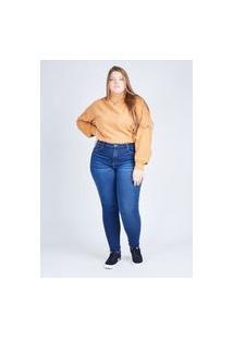 Calça Jeans Skinny Azul Escura Gang Plus Size Feminina