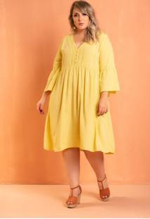 Vestido Fada Amarelo Plus Size Domenica Solazzo
