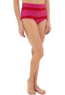 Calcinha Rosa Chá Devon Beachwear Listrado Feminina (Listrado Rosa E Vermelho, P)