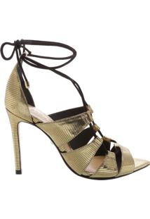 Sandália Bico Folha Lace-Up Gold   Schutz