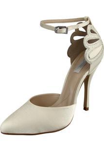 Scarpin Durval Calçados Noiva Salto Alto Cetim - Se9565 Off White