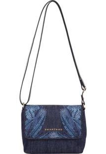 Bolsinha Smartbag Transversal Folhas - Feminino-Azul
