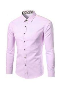 Camisa Social Masculina Slim Fit Manga Longa - Rosa
