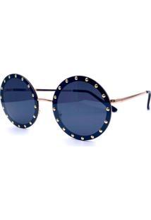 Óculos De Sol Cuco Blue Redondo Bahamas Preto Dourado