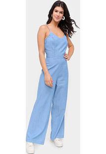 Macacão Jeans Influencer Longo Alcinha Feminino - Feminino-Azul Claro