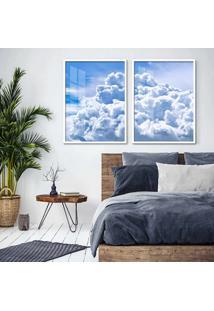 Quadro 65X90Cm Nuvens Cã©U Azul Moldura Branca Sem Vidro - Multicolorido - Dafiti