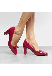 Scarpin Drezzup Salto Médio Boneca Laço - Feminino-Vermelho