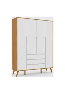 Roupeiro 4 Portas Retrô Clean Freijó / Branco Soft / Eco Wood Matic Móveis