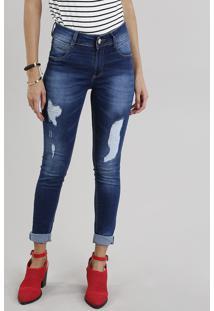 103a01391 CEA. Calça Jeans Feminina Super Skinny Sawary Levanta Bumbum Azul Escuro