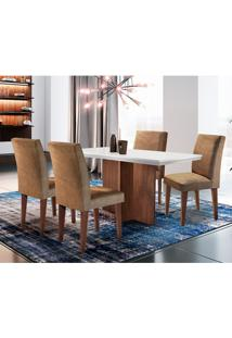 Conjunto De Mesa De Jantar Ane Com 6 Cadeiras Estofadas Grécia Ii Animalle Off White E Chocolate