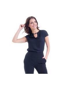 Blusa 101 Resort Wear Crepe Decotes Vazados Mangas Curtas Preto