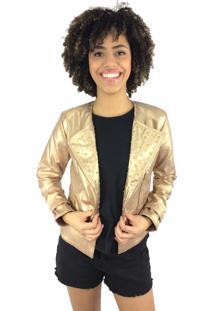 Jaqueta Descabida Tachinhas Dourada