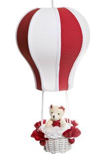 Lustre Balão Cintura Ursa Quarto Bebê Infantil Menina Potinho De Mel Vermelho - Kanui