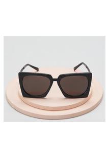 Amaro Feminino Óculos De Sol Geométrico Acetato Reciclado, Preto