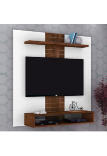 "Painel Para Tv Até 47"" Smart 14075 Branco Brilho/Rústico Malbec - Dj Móveis"