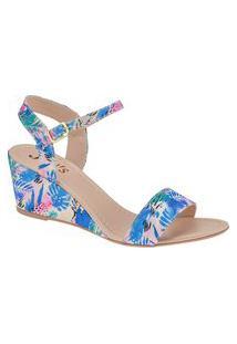 Sandalia Salto Azul Floral Saltinho Baixo Confortavel Anabela Joys