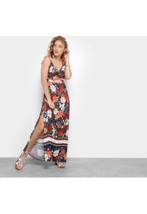 33047a05e R$ 299,99. Zattini Vestido Longo Azul Laranja Farm Floral - Feminino-Azul+Laranja  Safira