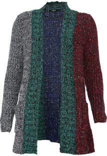 Cardigan Desigual Tricot Color Block Cinza/Azul-Marinho